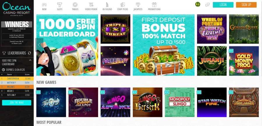 Ocean casino screenshot